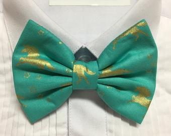 Teal and Gold Foil Metallic Unicorn Print Bowtie / Bow Tie
