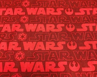 Fabric by the Yard - Star Wars Red and Burgundy Logo