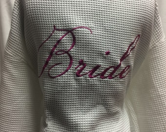 Bride and Bridal Party Waffle cotton robes customized with embroidery , monogram and/or name