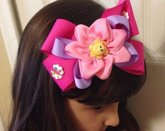 Sunshine and Rain bows Medium Head Band or Hair Bow