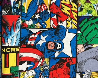 Fabric by the Yard - Avengers Icon and Logo Grid