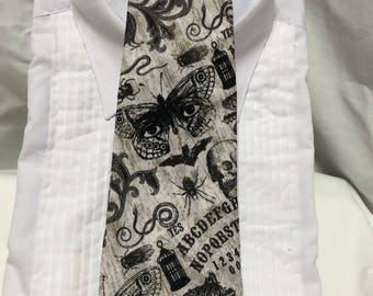 Spirit Board black charcoal and white Tie-able Neck Tie