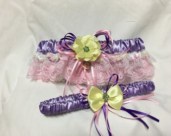 Tower Princess Print prom or wedding garter