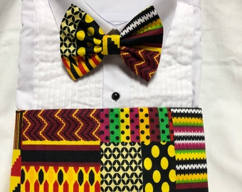 Bold African Kente Collage Print Cummerbund for a wedding or formal event