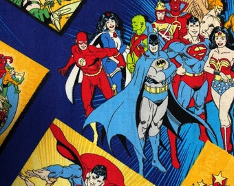 Fabric by the Yard - DC Justice League Heroes Group Print