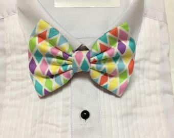 Pastel Easter Spring Diamond Pattern Print Bowtie / Bow Tie