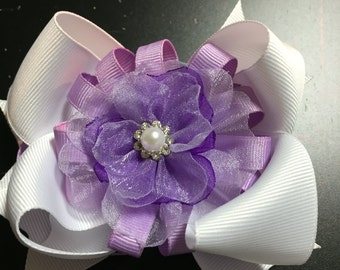 Purple flower stacked Hair Bow