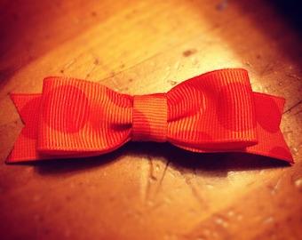 Orange Polka Dot s Hair Bow - 2 inches