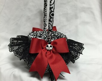 Nightmare Black and White and Red Swirl custom Flower Girl Basket