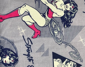 Fabric by the Yard - DC Wonder Woman on Gray