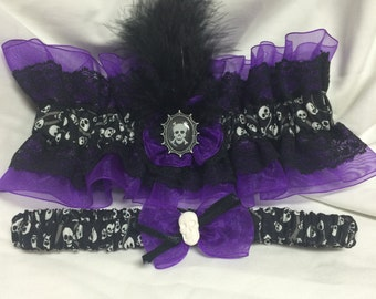 Custom Skull and Bones Spooky glam Damask Prom or wedding garter