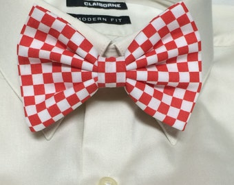 Red and White Checkered Print Bowtie / Bow Tie