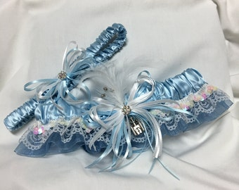 Custom Bridal Baby Blue silk Castle Fairytale Lace Classic Vintage inspired prom or wedding garter