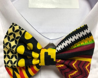 African Kente Geometric Maroon and Red Print Bowtie / Bow Tie
