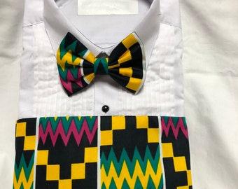 Bold African Kente Yellow, Black, Green and Pink Print Cummerbund for a wedding or formal event