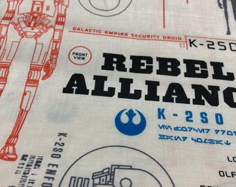 Fabric by the Yard - Star Wars K2-SO Blueprint Rebel Alliance
