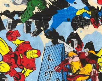 Fabric by the Yard - Marvel Heroes on Blue Rubble