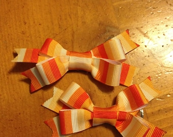 Orange Striped s Hair Bow - 2 inches