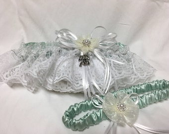 Frog Kiss Princess Print prom or wedding garter
