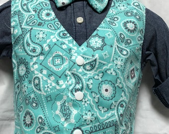 Robin's Egg Paisley Vest and tie or bow tie set