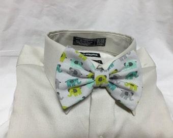 Grey Elephant Print Bow Tie