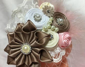 Ribbon flower Bow with pearl pink brown and ivory stretch Hairband for baby