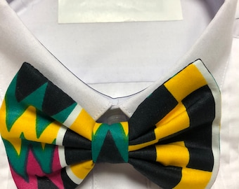 African Kente Geometric Black, Yellow, green and pink Print Bowtie / Bow Tie