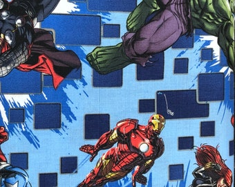 Fabric by the Yard - Marvel Heroes on Blue with Squares