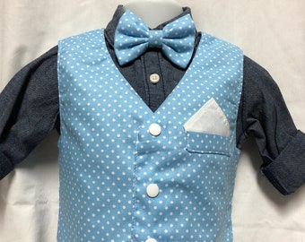 White Polka Dots on Light Blue Vest and tie or bow tie set