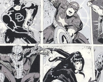 Fabric by the Yard - Avengers Comic Book Squares in Black and White
