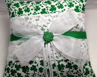 Custom Luck of the Irish Shamrock wedding Ring Bearer Pillow