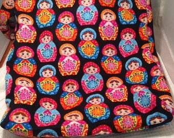 Matryoshka nesting doll Hobo REVERSIBLE CrossBody Bag / purse