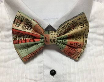1800s 1900s Vintage Paper Tickets Pattern Print Bowtie / Bow Tie