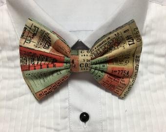 1800s 1900s Vintage Paper Tickets Pattern Print Bowtie / Bow Tie