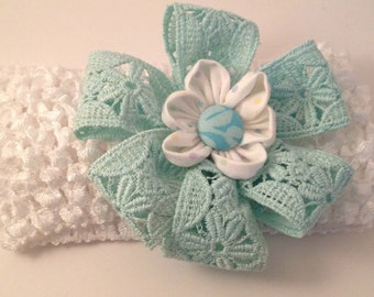 Mint Lace and white Waffle Hairband