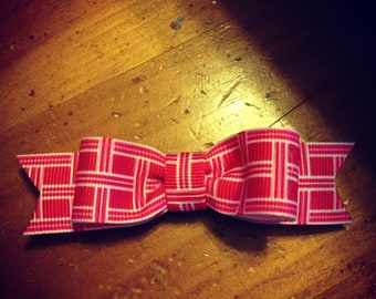 Pink Plaid s Hair Bow - 2 inches
