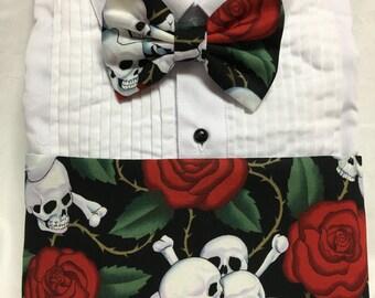 Thorns, Skulls and Roses Print Cummerbund for a wedding or formal event
