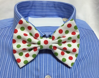 Christmas red white green Polka Dot Bow Tie / Bowtie  Vintage