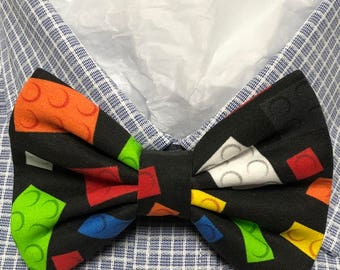 Blocks on Black Print Bowtie / Bow Tie