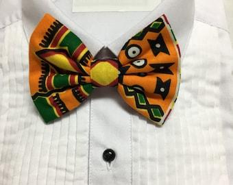African Kente Geometric Black, Maroon and Orange Print Bowtie / Bow Tie