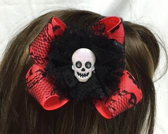 Spooky Halloween Calavera Hair Bow