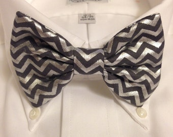 Christmas Limited Edition Gold or Silver Metallic Chevron Print Bowtie / Bow Tie or Hair Bow