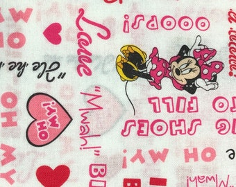 Fabric by the Yard - Disney Minnie Mouse icons and Words