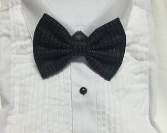 Black and white Binary Code Programmer Print Bowtie / Bow Tie