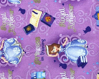 Fabric by the Yard - Disney Sofia the First on Purple