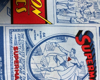 Fabric by the Yard - DC SuperMan Comic Book Covers