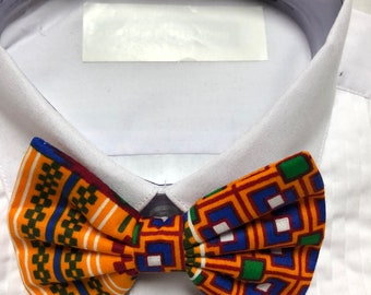 African Kente Geometric Orange and Blue Print Bowtie / Bow Tie