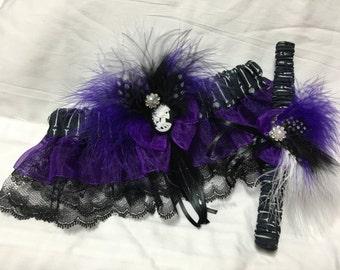 Custom Victorian Skull and Bones Spooky glam Damask Prom or wedding garter