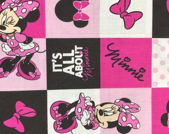Fabric by the Yard - Disney Minnie Mouse Grid Pink and Black