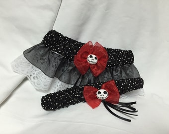 Custom polka dot Jack Skellington Keepsake and toss wedding garter
